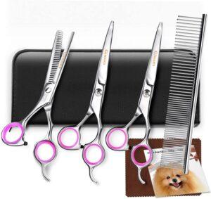 Gimars Titanium Coated 3CR Stainless Steel Dog Grooming Scissors Kit
