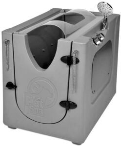 Pet Wash Enclosure with Splash Guard, Wheels & Removable Shelf