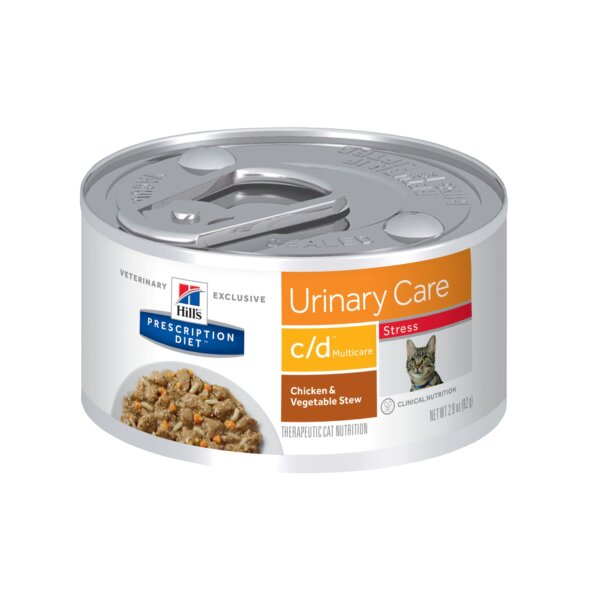Hill's Prescription Diet c/d Multicare Stress Urinary Care Chicken & Vegetable Stew Canned Cat Food, 2.9 oz., Case of 24, 24 X 2.9 OZ
