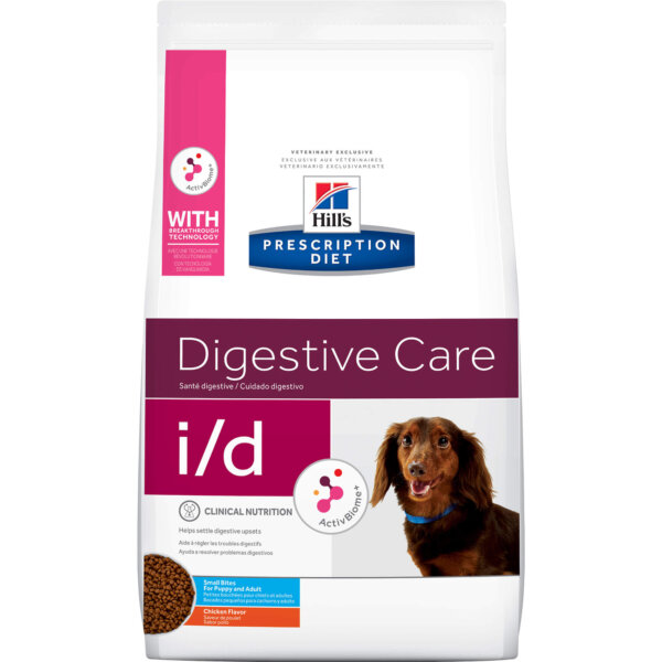 Hill's Prescription Diet i/d Digestive Care Small Bites Chicken Flavor Dry Dog Food, 7 lbs.