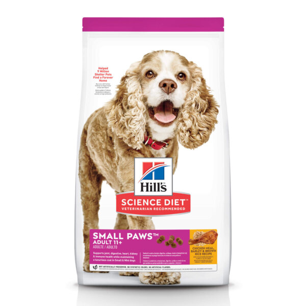 Hill's Science Diet Adult 11+ Small Paws Chicken Meal, Barley & Brown Rice Recipe Dry Dog Food, 15.5 lbs., Bag