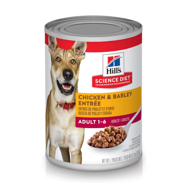 Hill's Science Diet Adult Chicken & Barley Entree Canned Dog Food, 13 oz., Case of 12, 12 X 13 OZ