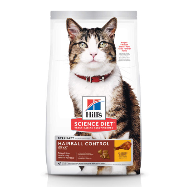 Hill's Science Diet Adult Hairball Control Chicken Recipe Dry Cat Food, 3.5 lbs.