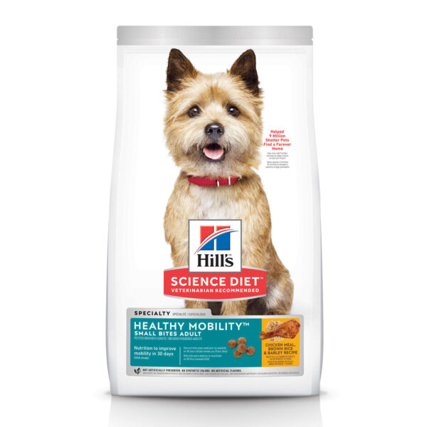 Hill's Science Diet Adult Healthy Mobility Small Bites Chicken Meal, Brown Rice & Barley Recipe Dry Dog Food, 30 lbs., Bag