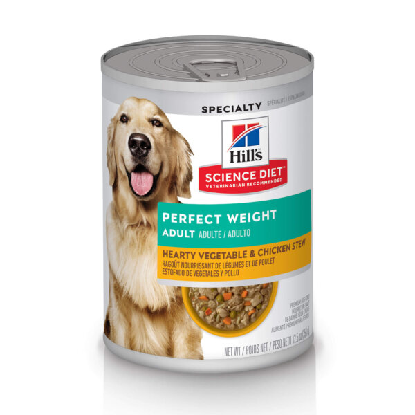 Hill's Science Diet Adult Perfect Weight Hearty Vegetable & Chicken Stew Canned Dog Food, 12.5 oz., Case of 12, 12 X 12.5 OZ