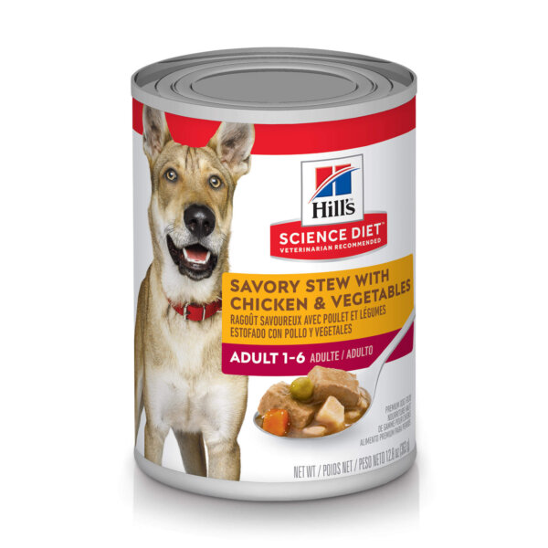 Hill's Science Diet Adult Savory Stew with Chicken & Vegetables Canned Dog Food, 12.8 oz.