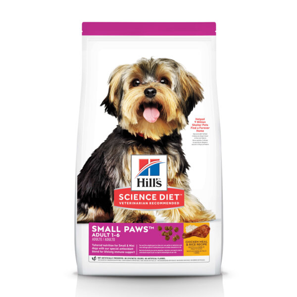 Hill's Science Diet Adult Small Paws Chicken Meal & Rice Recipe Dry Dog Food, 15.5 lbs.