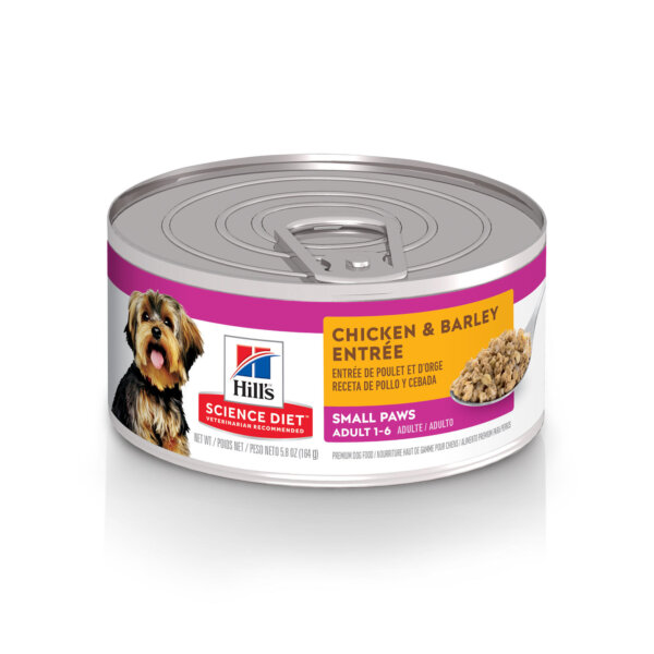 Hill's Science Diet Adult Small Paws Chicken & Barley Entree Canned Dog Food, 5.8 oz., Case of 24, 24 X 5.8 OZ